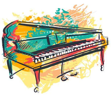 Piano in watercolor sketch style. Colorful hand drawn grunge style for banner, card, t-shirt, tattoo, print, poster. Vector illustration Ilustração