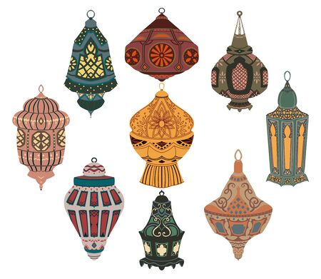 Arabic lanterns collection. Traditional oriental lamps with national floral ornament. Isolated objects on white background. Vector illustration Foto de archivo - 131809556