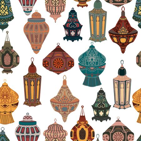 Seamless pattern with arabic lanterns collection. Traditional oriental lamps with national floral ornament. Vector illustration Foto de archivo - 128662817