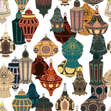 Seamless pattern with arabic lanterns collection. Traditional oriental lamps with national floral ornament. Vector illustration