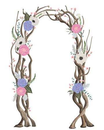 Rustic arch with tree branches, flowers, leaves. Vintage design template for invitation, card, poster. Vector illustration in watercolor style