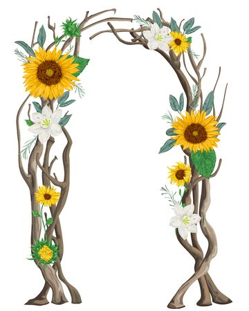Rustic arch with tree branches, sunflowers, lilies, rosemary and leaves. Vintage design template for invitation, card, poster. Vector illustration in watercolor style