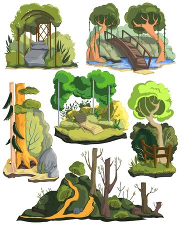 Summer landscapes set. Beautiful garden, forest and meadows with trees, plants, bushes, flowers. Isolated elements on white background. Colorful vector illustration