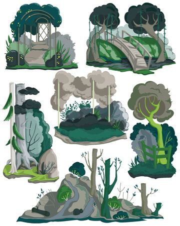 Halloween landscapes set. Creepy garden, forest and meadows with trees, plants, bushes, flowers. Isolated elements on white background. Colorful vector illustration