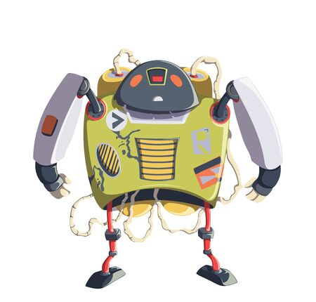 Cartoon robot character. Technology, the future. Artificial intelligence design concept. Isolated on white background. Vector illustration