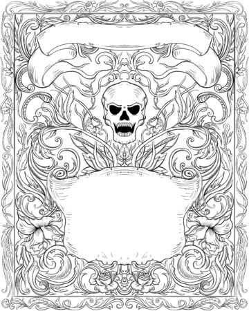 Invitation to Halloween night party. Vintage card with creepy skull, ribbons and gothic ornament. Black and white elegant cover background pattern. Vector illustration