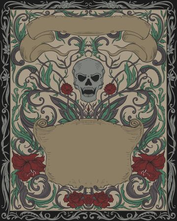 Invitation to Halloween night party. Vintage card with creepy skull, ribbons and gothic ornament. Elegant cover background pattern in retro style. Vector illustration Ilustração