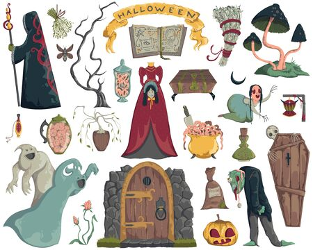 Halloween design elements set. Scary characters, ghosts, coffin, witcher, book of spells, potions, mushrooms and plants. Isolated objects on white background. Vector illustration in watercolor style