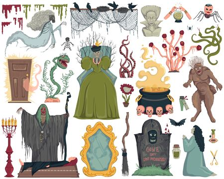 Halloween design elements set. Scary characters, ghosts, grave, witch, old mirror, potions, monsters and plants. Isolated objects on white background. Vector illustration in watercolor style