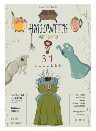 Halloween night party invitation. Creepy characters and decorations. Design template for greeting card, wallpaper, poster, flyer. Vector illustration Foto de archivo - 131809874