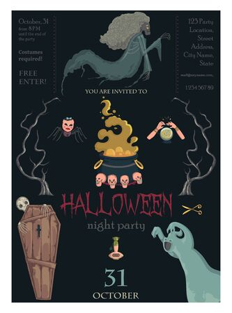 Halloween night party invitation. Creepy characters and decorations. Design template for greeting card, wallpaper, poster, flyer. Vector illustration Foto de archivo - 131809877