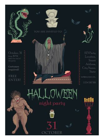 Halloween night party invitation. Creepy characters and decorations. Design template for greeting card, wallpaper, poster, flyer. Vector illustration