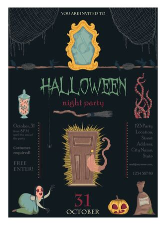 Halloween night party invitation. Creepy characters and decorations. Design template for greeting card, wallpaper, poster, flyer. Vector illustration Foto de archivo - 131809876