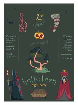 Halloween night party invitation. Creepy characters and decorations. Design template for greeting card, wallpaper, poster, flyer. Vector illustration Foto de archivo - 131809890