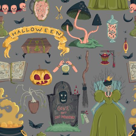 Seamless pattern with creepy characters and decorations. Halloween night party symbols. Design for greeting card, wallpaper, textile, fabric. Vector illustration Foto de archivo - 131809901