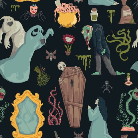 Seamless pattern with creepy characters and decorations. Halloween night party symbols. Design for greeting card, wallpaper, textile, fabric. Vector illustration Foto de archivo - 131809902