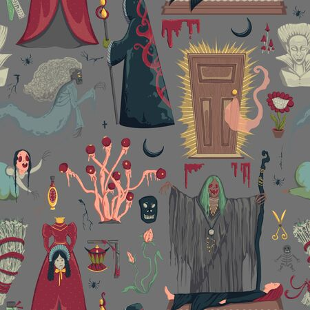 Seamless pattern with creepy characters and decorations. Halloween night party symbols. Design for greeting card, wallpaper, textile, fabric. Vector illustration Ilustração