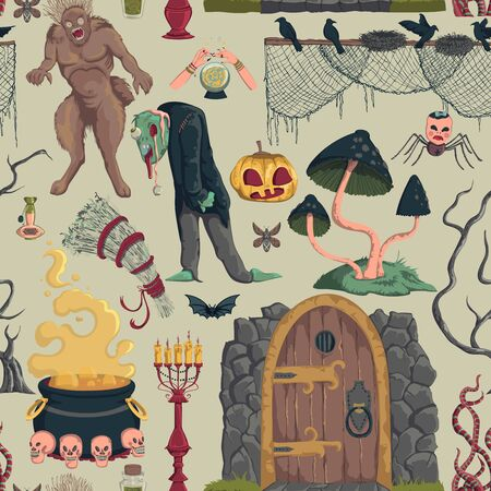 Seamless pattern with creepy characters and decorations. Halloween night party symbols. Design for greeting card, wallpaper, textile, fabric. Vector illustration Foto de archivo - 131809904