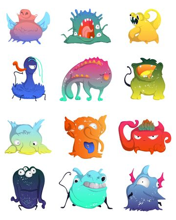 Cute monsters set. Funny fantasy characters collection. Design concept elements for print, poster, wallpaper. Isolated objects on white background. Colorful vector illustration Ilustração
