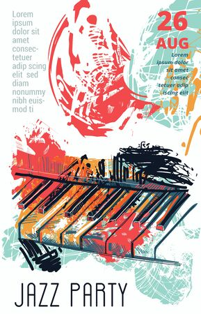 Jazz music party with abstract piano keyboard in grunge watercolor sketch style. Design template for invitation, card, poster, placard and flyer. Vector illustration Ilustração