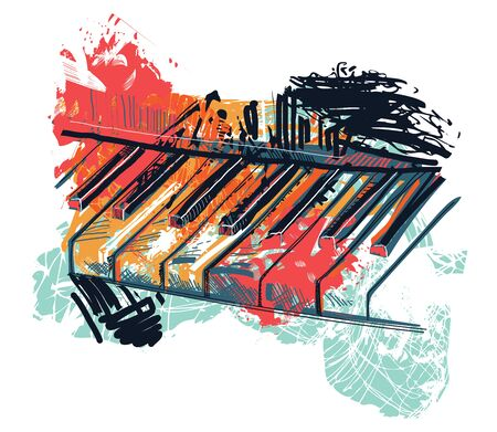 Abstract piano keyboard in watercolor sketch style. Colorful hand drawn grunge style art for banner, card, t-shirt, tattoo, print, poster. Vector illustration Ilustração