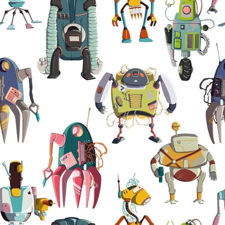 Seamless pattern with cartoon robots characters set. Technology, future. Artificial intelligence design concept. Isolated on white background. Vector illustration Ilustração