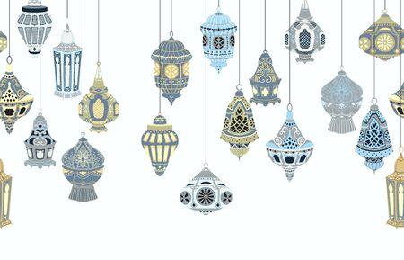 Frontera sin costuras con linternas árabes colgantes. Colección de lámparas orientales tradicionales con adornos florales nacionales. Objetos aislados sobre fondo blanco. Ilustración vectorial Ilustración de vector