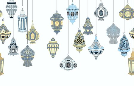 Seamless border with hanging Arabic lanterns. Collection of traditional oriental lamps with national floral ornament. Isolated objects on white background. Vector illustration