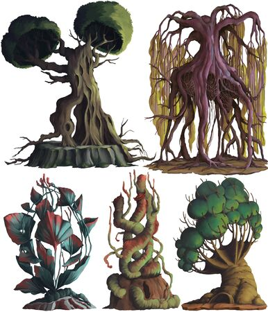 Fantasy trees and plants set. Concept design digital art. Isolated on white background. Hand drawn illustration