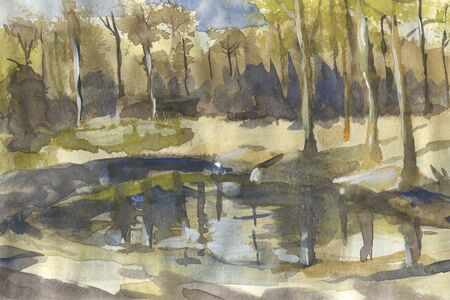 Landscape with trees and little lake. Watercolor illustration in sketch style