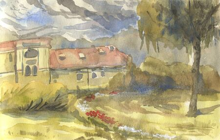Landscape with house, trees and bushes. Watercolor illustration in sketch style