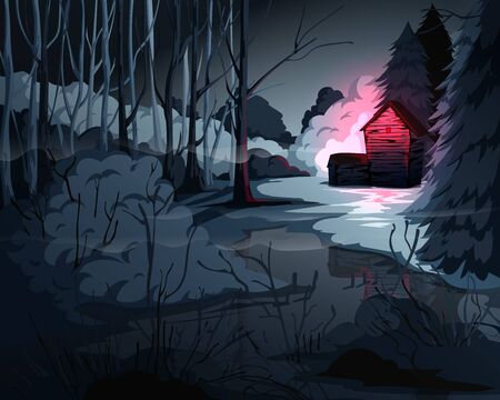 Creepy forest landscape with trees, swamp, old house and red light in window. Mysterious scenery background. Vector illustration