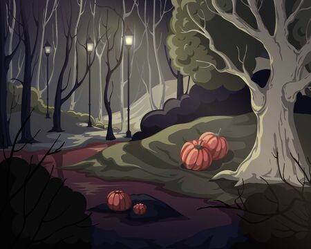 Creepy forest landscape with trees, swamp, lanterns and pumpkins. Mysterious scenery background. Vector illustration