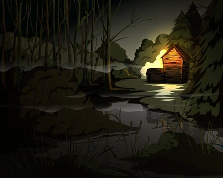Creepy forest landscape with trees, swamp, old house and light in window. Mysterious scenery background. Vector illustration