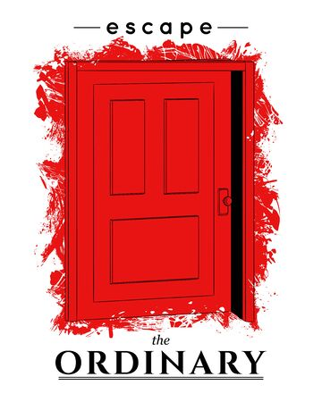 Typography conceptual poster with red ajar door. Escape the ordinary. Inspirational quote. Concept design for t-shirt, tattoo, print, poster, card. Vector illustration Foto de archivo - 131809976