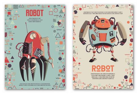 Design template with robots characters and geometric shapes. Technology, future. Artificial intelligence concept. Vector illustration Иллюстрация