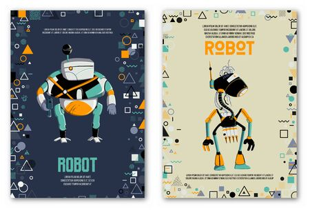 Design template with robots characters and geometric shapes. Technology, future. Artificial intelligence concept. Vector illustration Ilustração