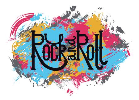 Rock and roll. Vintage hand drawn lettering on grunge abstract background. Retro vector illustration. Design, retro card, print, t-shirt, postcard