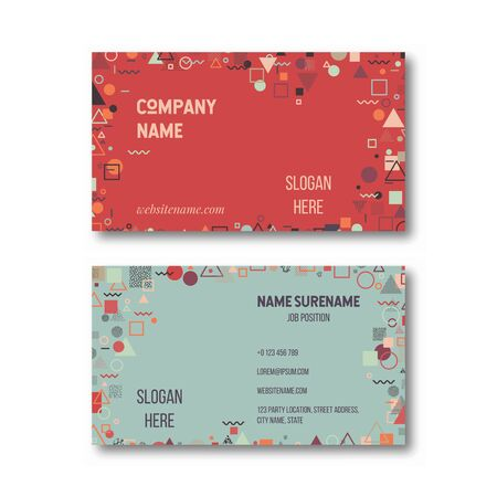 Business card design template with abstract geometric shapes. Vector illustration