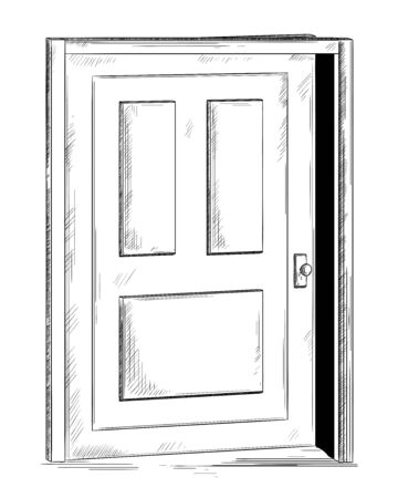 Ajar door. Isolated object on white background .Vector illustration in sketch style