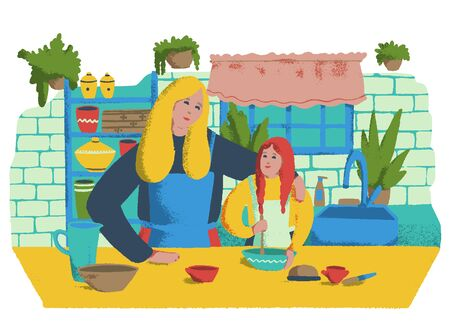 Mom and daughter are cooking together in the kitchen. Cartoon vector illustration Ilustração