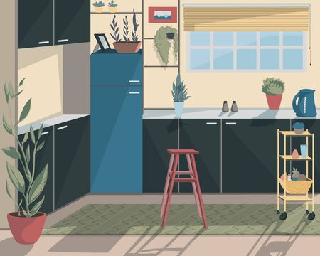 Modern kitchen interior with window, chair and plant in pots. Vector illustration Ilustração