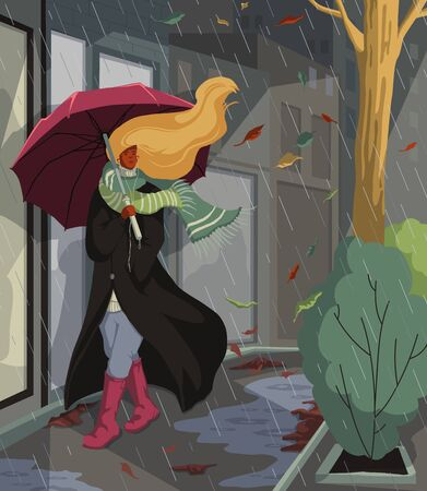 Woman with umbrella walking on street at rainy and windy weather. Autumn night cityscape. Sad melancholy mood and seasonal depression. Vector illustration