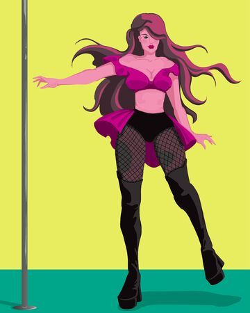 Pole dancer. Pretty woman in sexy outfit poses and dances on stage. Colorful vector illustration