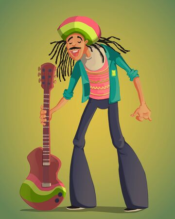 Rastafarian man with dreadlocks and guitar. Funny cartoon character. Colorful vector illustration