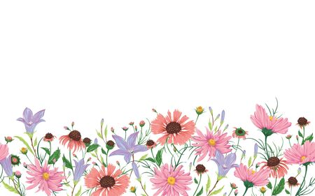Seamless border with bluebells, chamomile and daisy flowers. Rustic romantic floral background. Vintage vector botanical illustration in watercolor style.