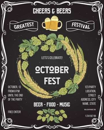 October fest beer festival. Cheers and beers invitation with hop, wheat and glasses of beer on chalkboard background. Design template for card, flyer, print, poster, ad. Vector illustration Ilustração