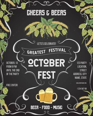 October fest beer festival. Cheers and beers invitation with hop, wheat and glasses of beer on chalkboard background. Design template for card, flyer, print, poster, ad. Vector illustration Foto de archivo - 131868174