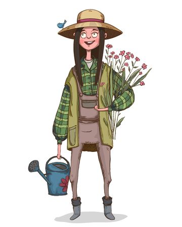 Farmer girl with flowers in her hands and watering can. Cute cartoon character dressed in work overalls and hat with little bird. Vector illustration