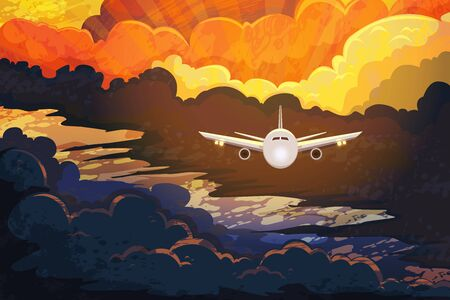 Airplane flying above beautiful clouds in sunset or sunrise light.